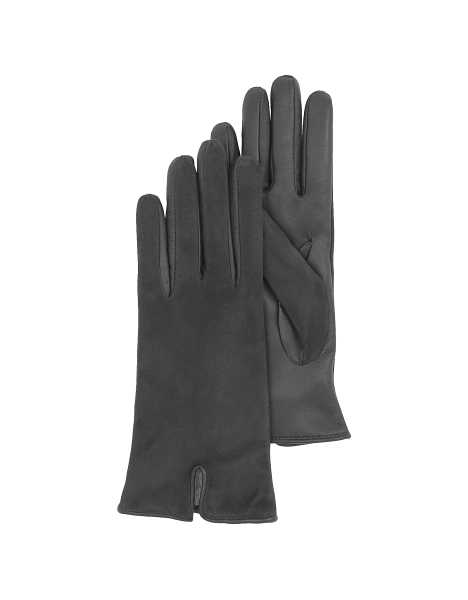 Forzieri Women's Gloves Black Touch Screen Leather Women's Gloves Black USA - GOOFASH - Womens GLOVES