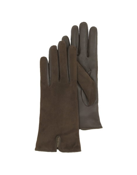 Forzieri Women's Gloves Brown Touch Screen Leather Women's Gloves Dark Brown USA - GOOFASH - Womens GLOVES
