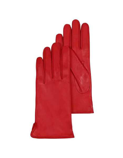 Forzieri Women's Gloves Red Leather Women's Gloves w/Cashmere Lining Red USA - GOOFASH - Womens GLOVES