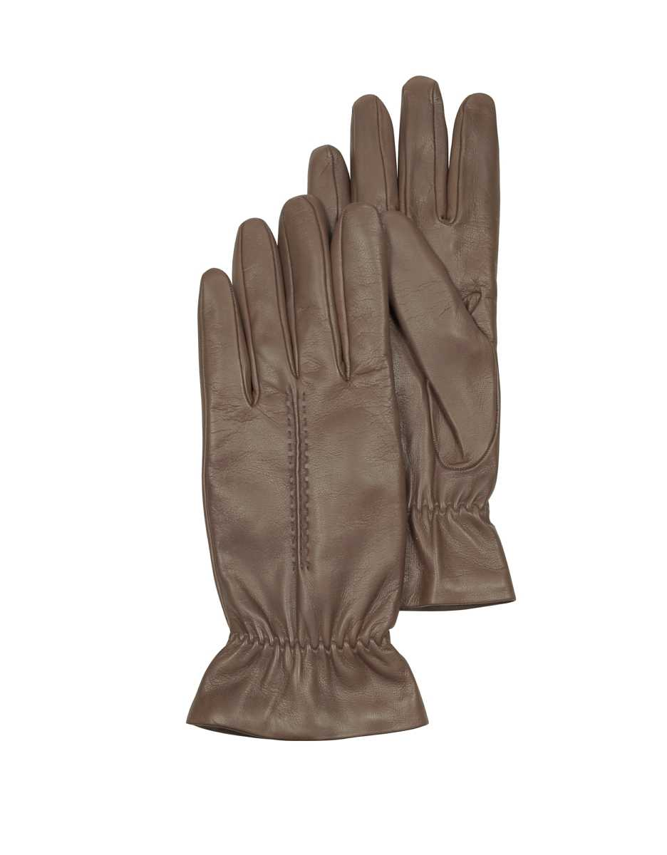 Forzieri  Women's Gloves Taupe Leather Women's Gloves w/Wool Lining Taupe USA - GOOFASH - Womens GLOVES