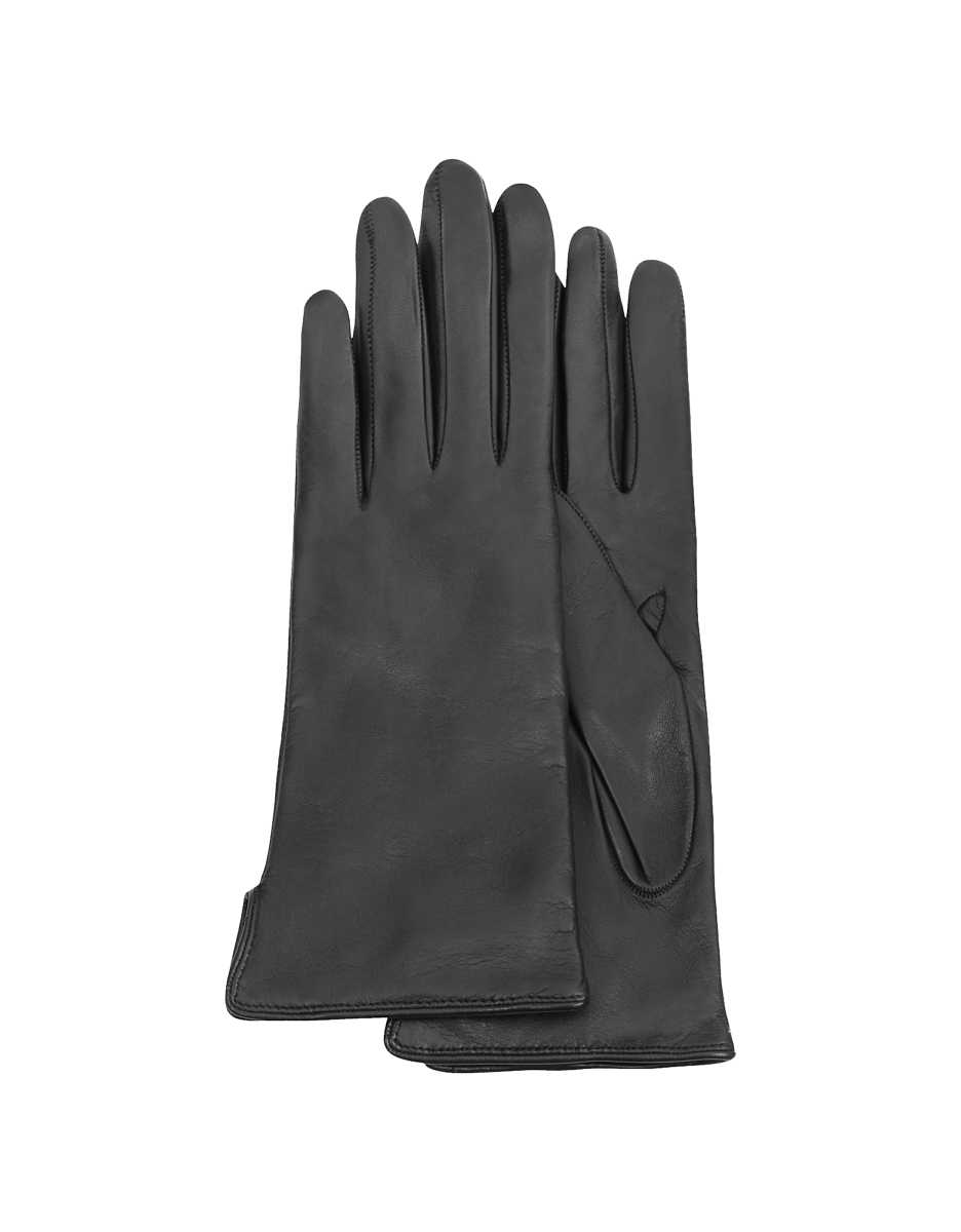 Forzieri  Women's Gloves Women's Black Cashmere Lined Italian Leather Gloves Black USA - GOOFASH - Womens GLOVES