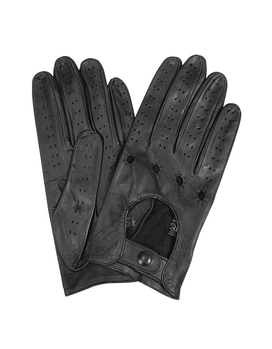 Forzieri  Women's Gloves Women's Black Perforated Italian Leather Driving Gloves Black USA - GOOFASH - Womens GLOVES