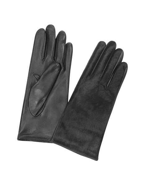 Forzieri Women's Gloves Women's Black Pony Hair and Italian Nappa Leather Gloves Black USA - GOOFASH - Womens GLOVES