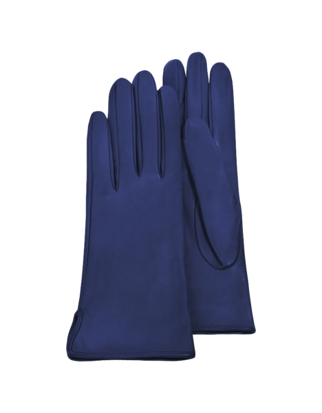Forzieri Women's Gloves Women's Bright Blue Calf Leather Gloves w/ Silk Lining Blue USA - GOOFASH - Womens GLOVES