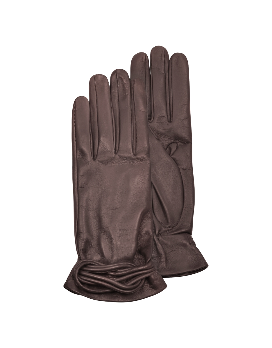 Forzieri  Women's Gloves Women's Brown Leather Gloves w/Knot Brown USA - GOOFASH - Womens GLOVES