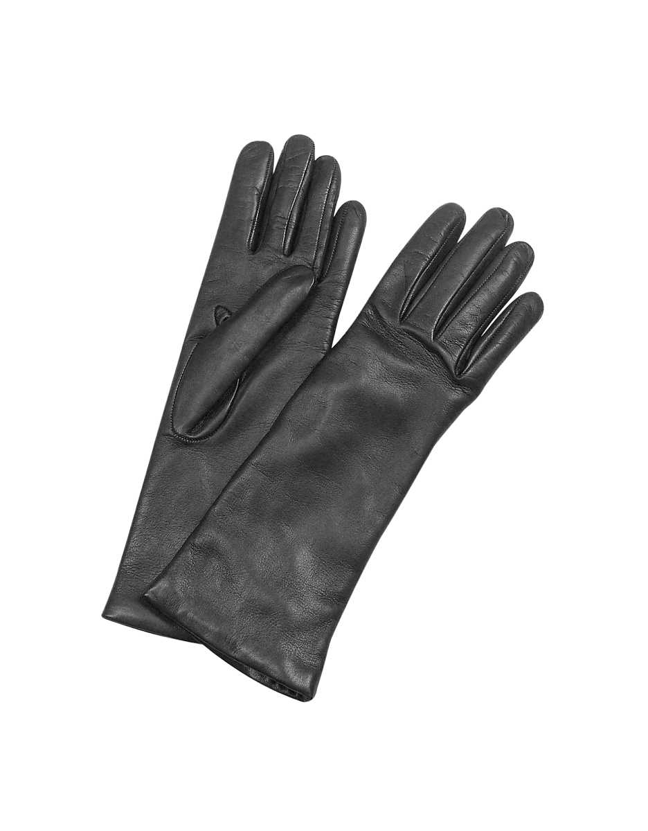 Forzieri  Women's Gloves Women's Cashmere Lined Black Italian Leather Long Gloves Black USA - GOOFASH - Womens GLOVES