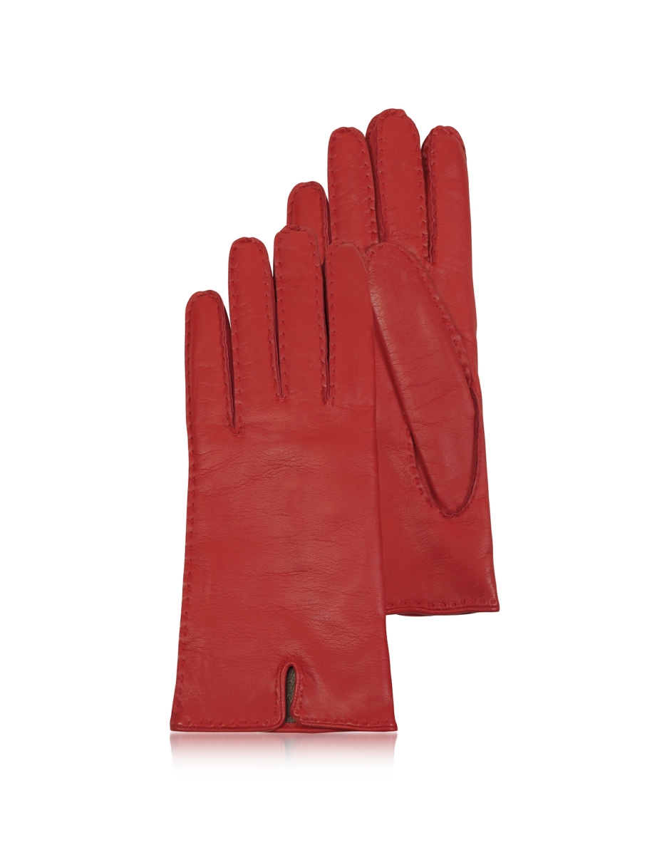 Forzieri  Women's Gloves Women's Cashmere Lined Red Italian Leather Gloves Red USA - GOOFASH - Womens GLOVES