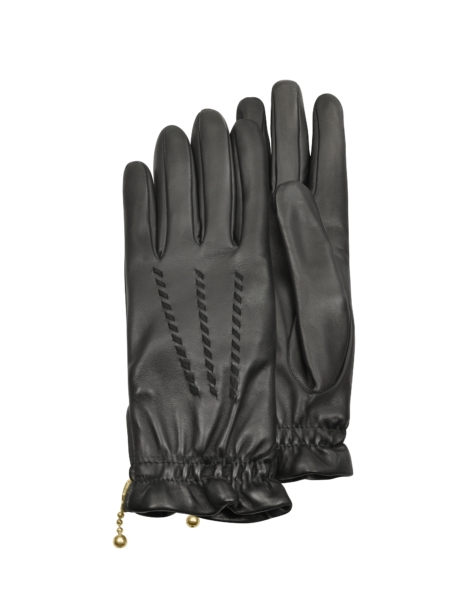 Forzieri Women's Gloves Women's Embroidered Black Calf Leather Gloves Black USA - GOOFASH - Womens GLOVES