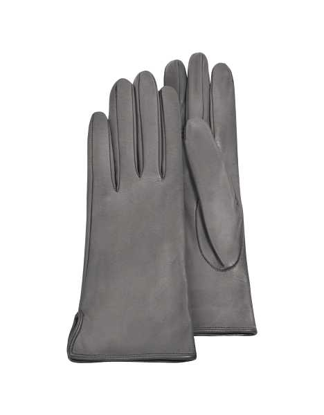 Forzieri Women's Gloves Women's Gray Calf Leather Gloves w/ Silk Lining Gray USA - GOOFASH - Womens GLOVES