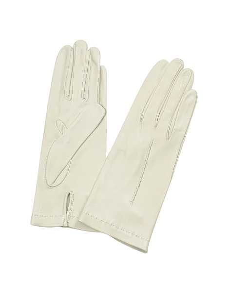 Forzieri Women's Gloves Women's Ivory Unlined Italian Leather Gloves Ivory USA - GOOFASH - Womens GLOVES
