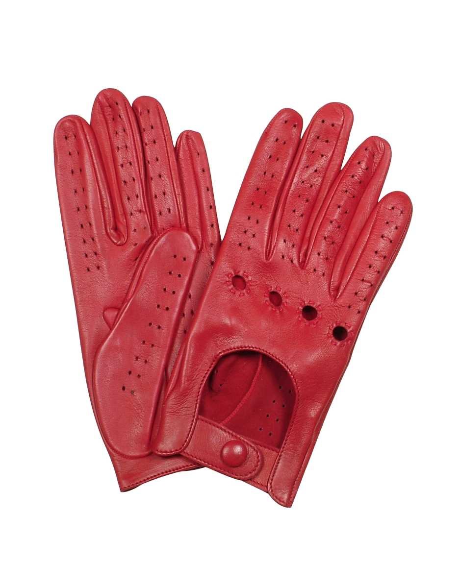 Forzieri  Women's Gloves Women's Red Perforated Italian Leather Driving Gloves Red USA - GOOFASH - Womens GLOVES