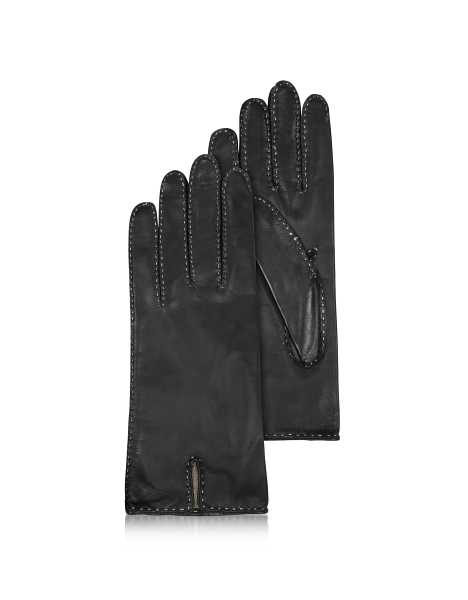 Forzieri Women's Gloves Women's Stitched Cashmere Lined Black Italian Leather Gloves Black USA - GOOFASH - Womens GLOVES