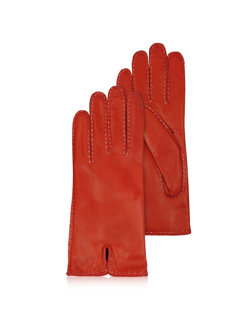 Forzieri  Women's Gloves Women's Stitched Cashmere Lined Red Italian Leather Gloves Red USA - GOOFASH - Womens GLOVES
