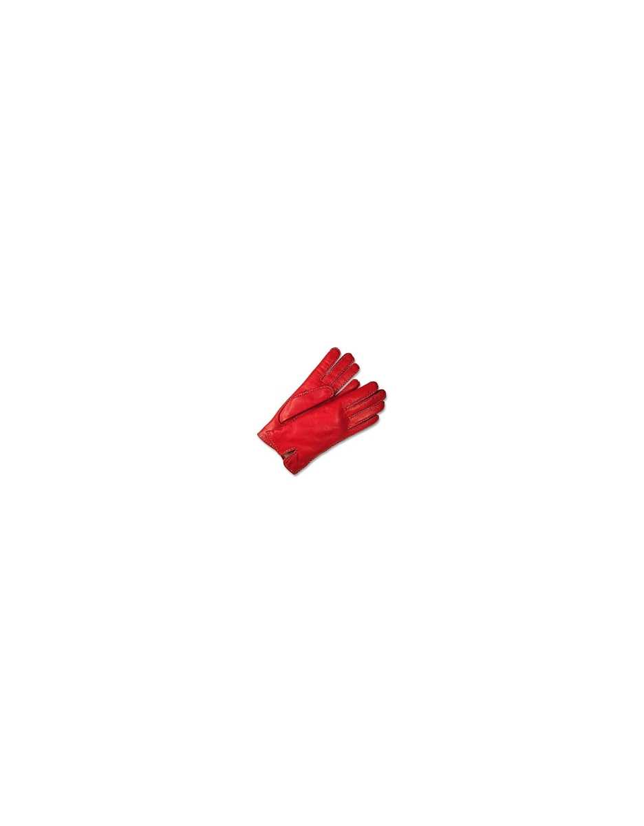 Forzieri  Women's Gloves Women's Stitched Silk Lined Red Italian Leather Gloves Red USA - GOOFASH - Womens GLOVES
