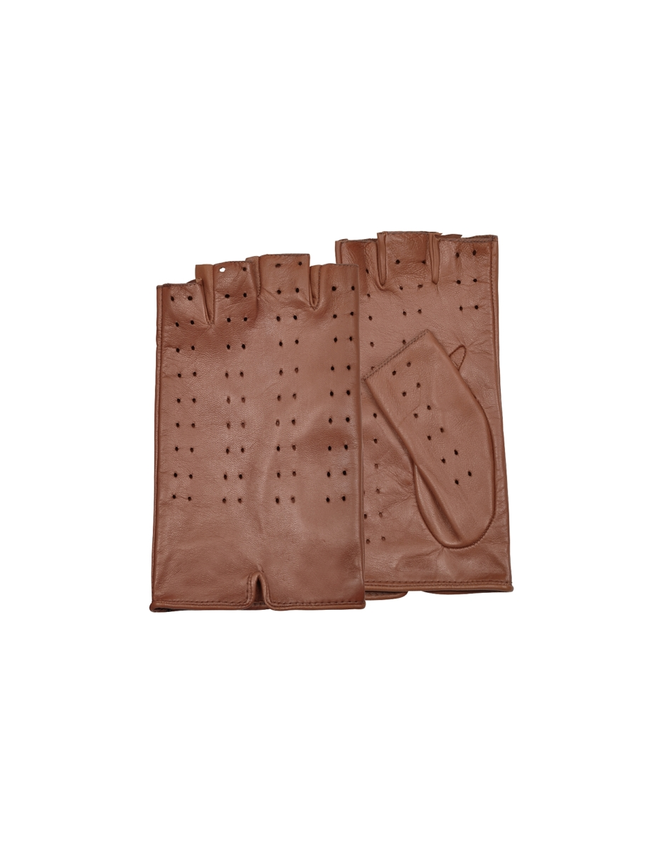 Forzieri  Women's Gloves Women's Tan Perforated Fingerless Leather Gloves Brown USA - GOOFASH - Womens GLOVES