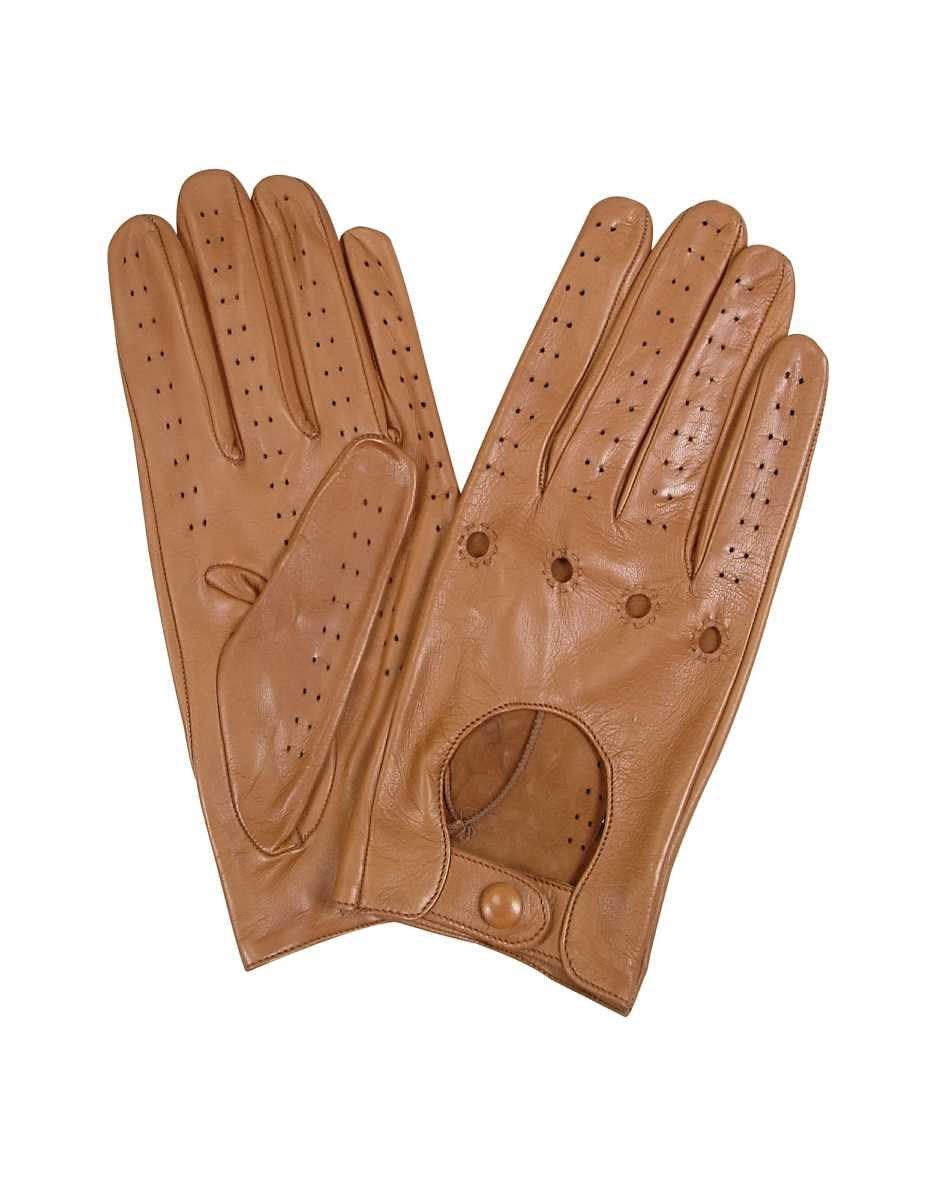 Forzieri  Women's Gloves Women's Tan Perforated Italian Leather Driving Gloves Tan USA - GOOFASH - Womens GLOVES