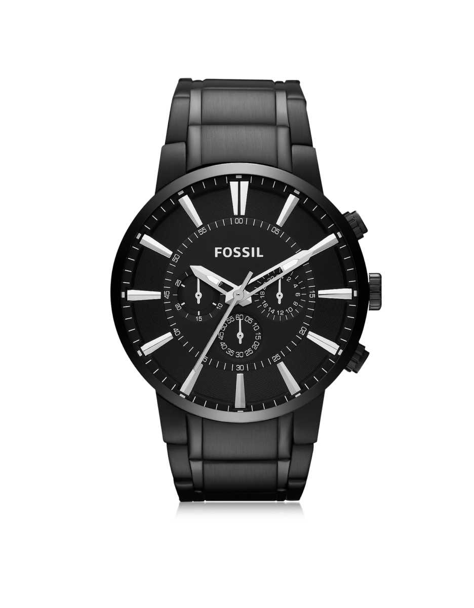Fossil  Men's Watches Others Black Stainless Steel Men's Chronograph Watch Black USA - GOOFASH - Mens WATCHES
