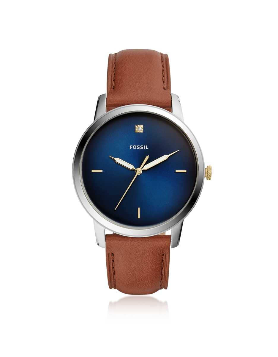 Fossil  Men's Watches The Minimalist Carbon Series Three-Hand Luggage Leather Watch Silver USA - GOOFASH - Mens WATCHES