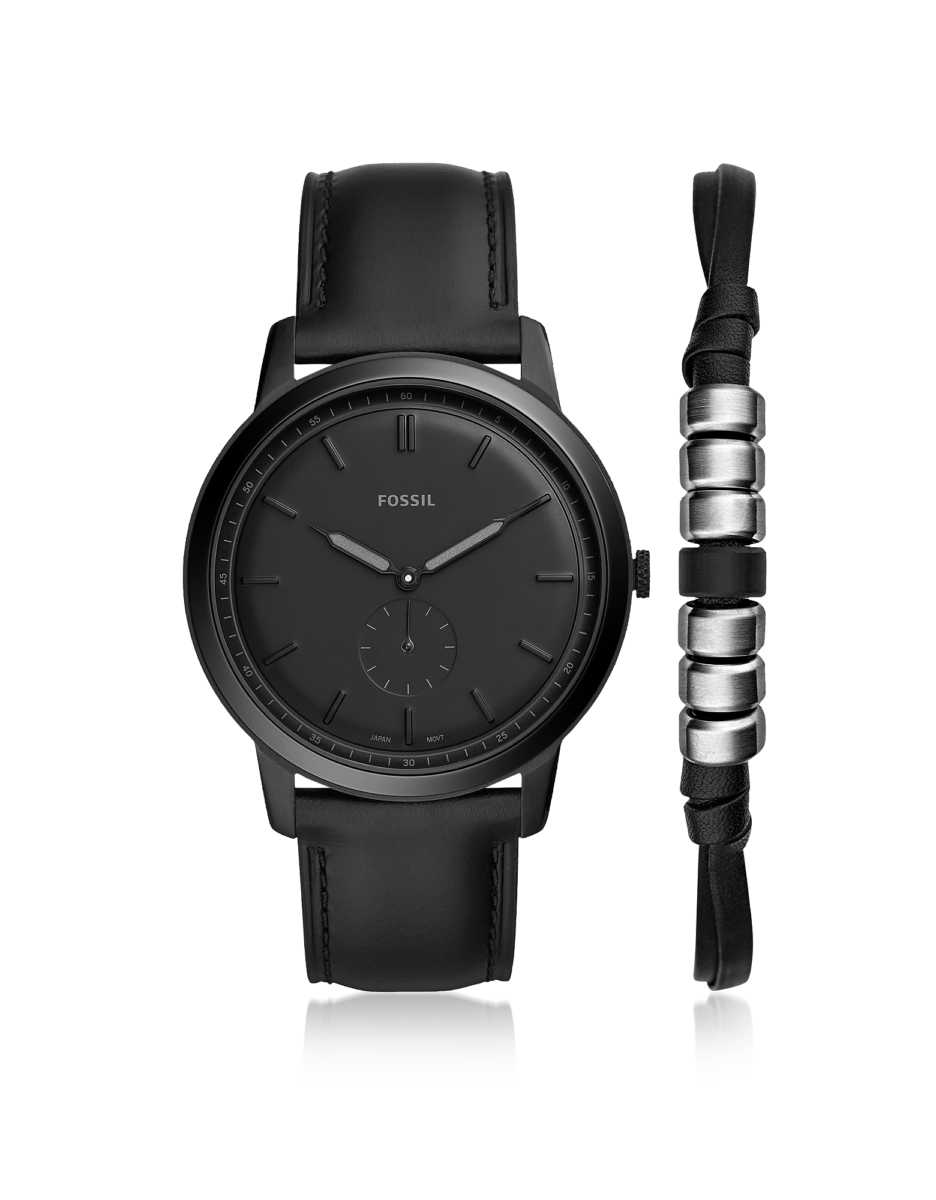 Fossil  Men's Watches The Minimalist Two-Hand Black Leather Watch Box Set Black USA - GOOFASH - Mens WATCHES