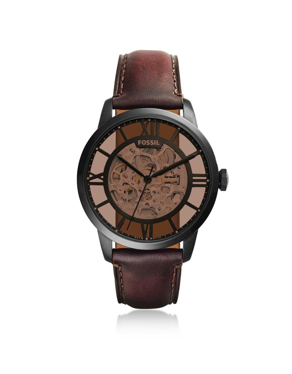 Fossil  Men's Watches Townsman Automatic Dark Brown Leather Men's Watch Black USA - GOOFASH - Mens WATCHES
