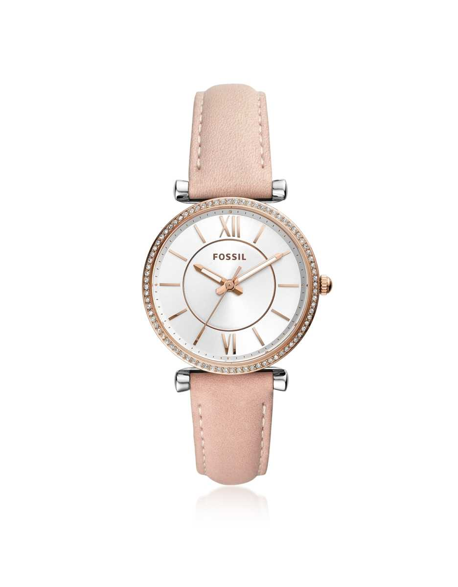 Fossil  Women's Watches Carlie Three Hand Rose Leather Women's Watch Silver USA - GOOFASH - Womens WATCHES