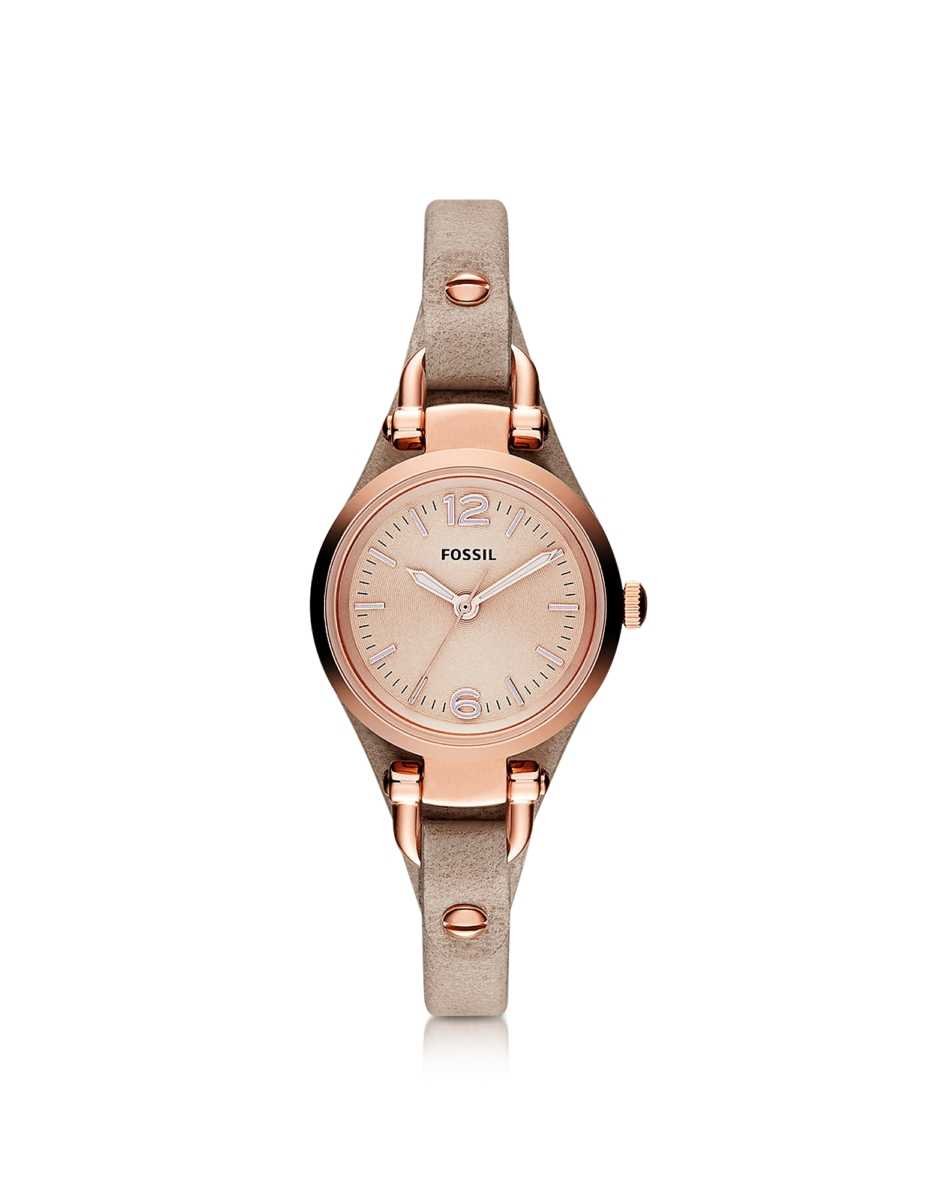 Fossil  Women's Watches Georgia Mini Three Hand Sand Leather Women's Watch Sand USA - GOOFASH - Womens WATCHES