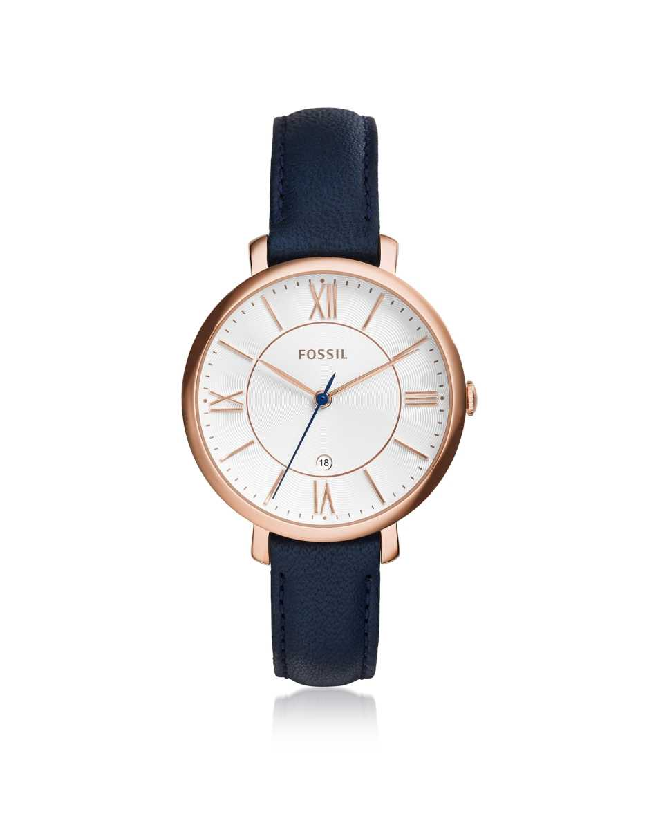 Fossil  Women's Watches Jacqueline Blue Leather Women's Watch Rose Gold USA - GOOFASH - Womens WATCHES