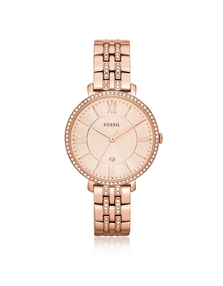Fossil  Women's Watches Jacqueline Rose Tone Stainless Steel Women's Watch Rose Gold USA - GOOFASH - Womens T-SHIRTS