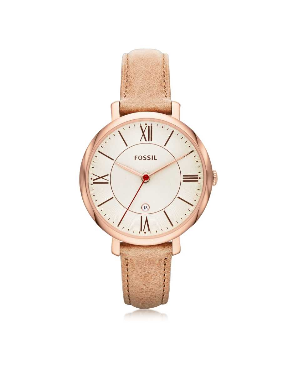 Fossil  Women's Watches Jacqueline Sand Leather Women's Watch Pink USA - GOOFASH - Womens WATCHES