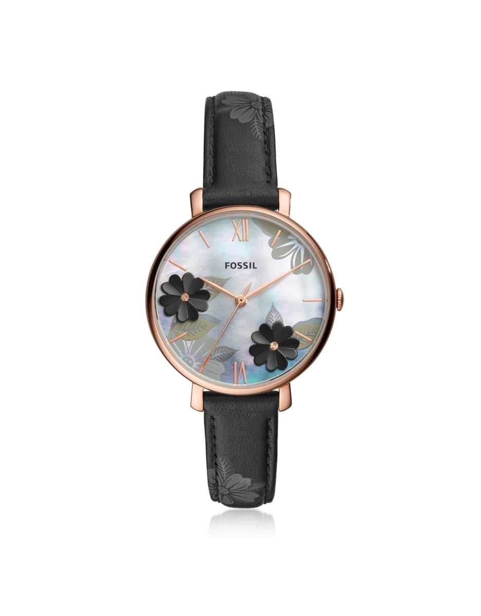 Fossil  Women's Watches Jacqueline Three Hand Floral Black Leather Watch Rose Gold USA - GOOFASH - Womens WATCHES