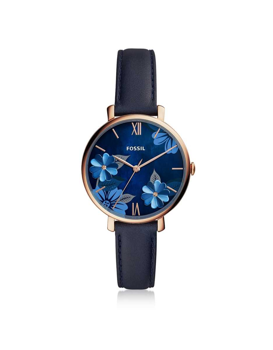 Fossil  Women's Watches Jacqueline Three Hand Floral Blue Leather Watch Rose Gold USA - GOOFASH - Womens WATCHES