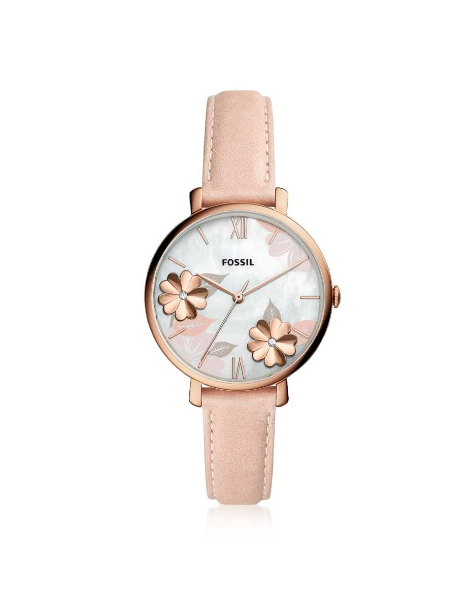 Fossil  Women's Watches Jacqueline Three Hand Floral Blush Leather Watch Rose Gold USA - GOOFASH - Womens WATCHES