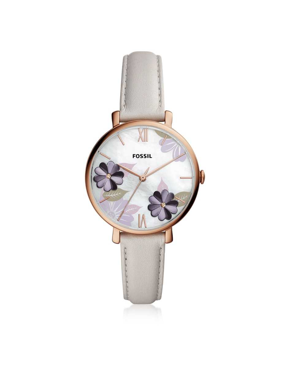 Fossil  Women's Watches Jacqueline Three Hand Floral Gray Leather Watch Rose Gold USA - GOOFASH - Womens WATCHES