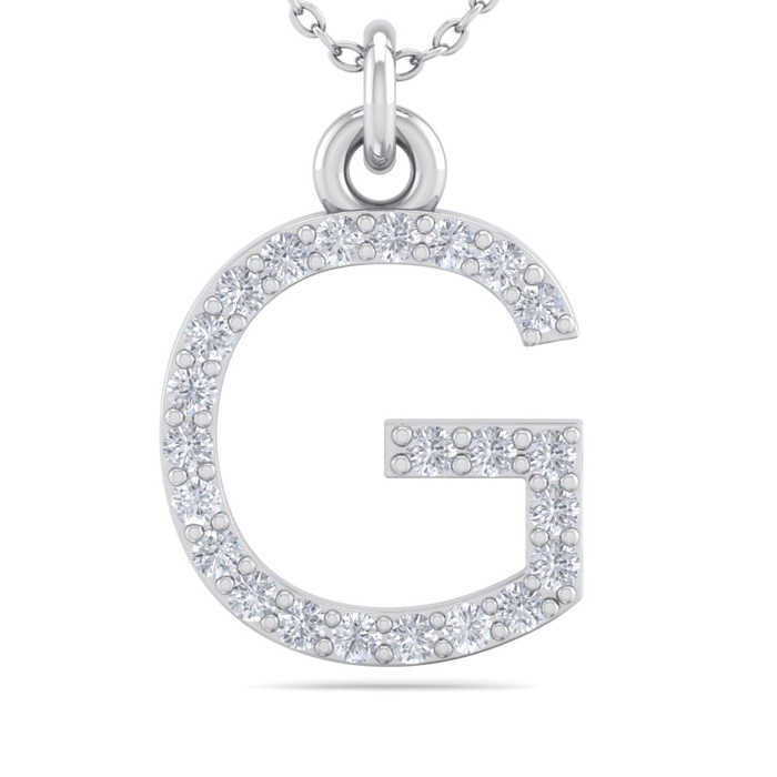 G Initial Necklace in 14K White Gold (2.50 g) w/ 23 Diamonds