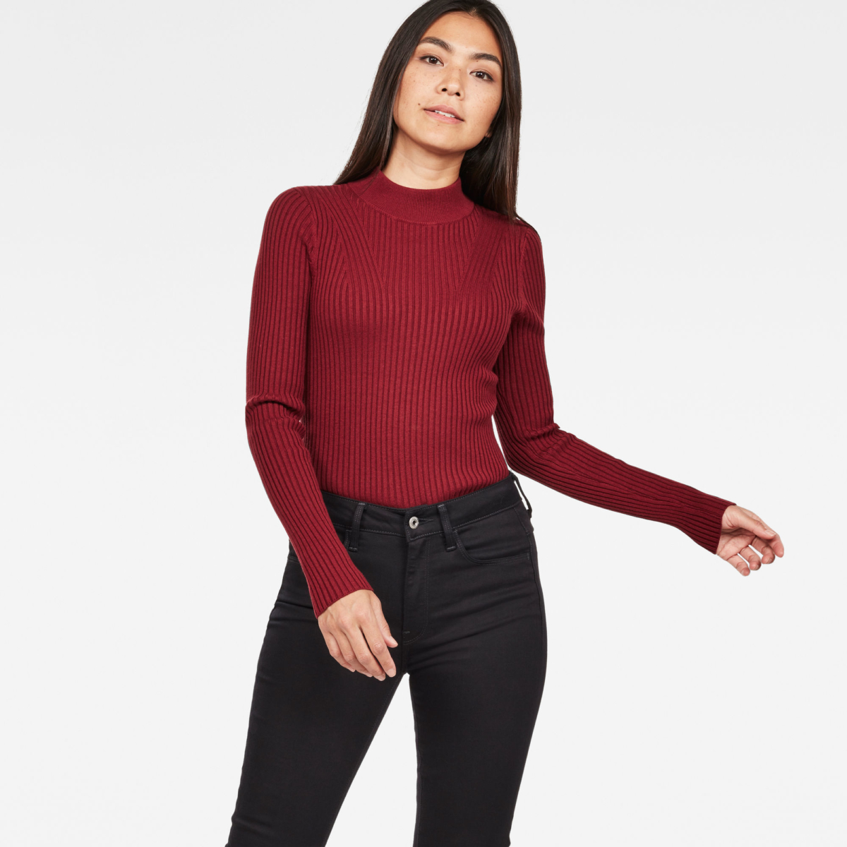 G-Star Female Lynn Mock Turtle Knit Knitwear Slim Red USA - GOOFASH - Womens KNITWEAR