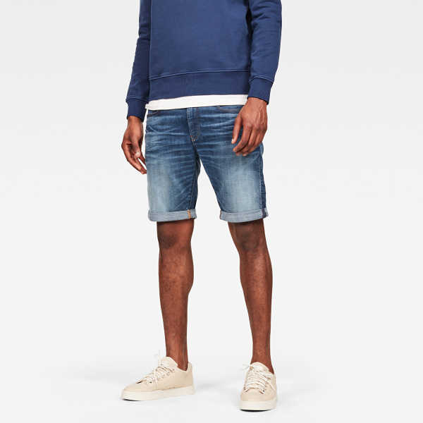 G-Star Male 3301 Slim Short Shorts Slim Medium Blue USA - GOOFASH - Mens SHORTS
