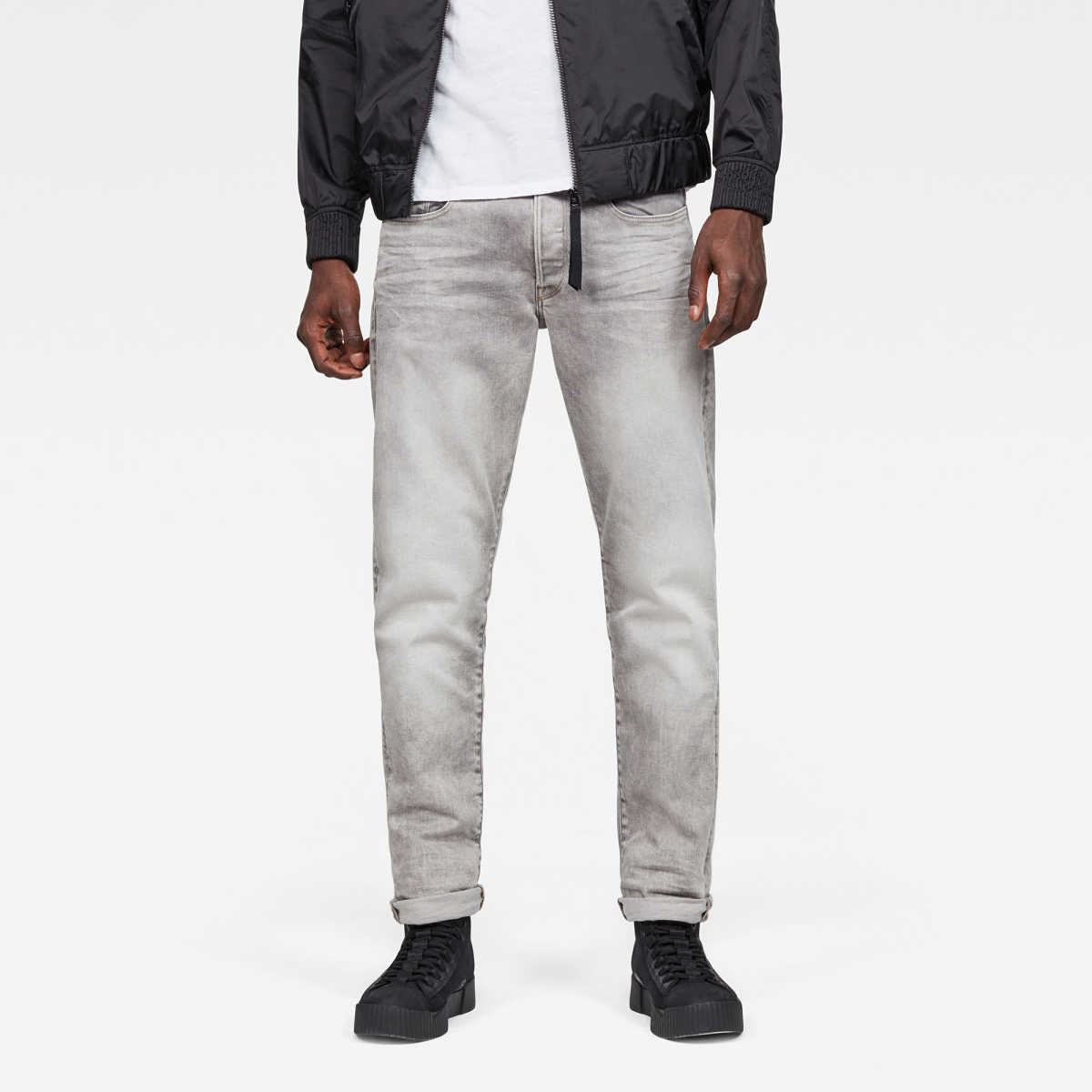 G-Star Male 3301 Straight Tapered Jeans Tapered Grey USA - GOOFASH - Mens JEANS