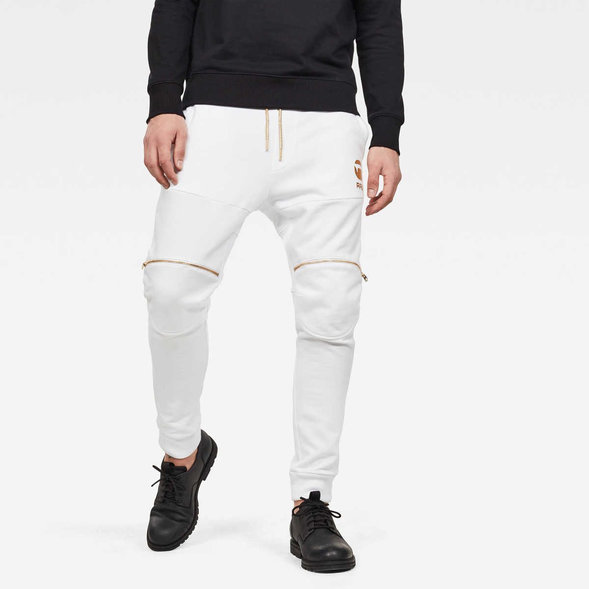 G-Star Male 5620 Zip Knee Sweatpants Pants Tapered White USA - GOOFASH - Mens TROUSERS