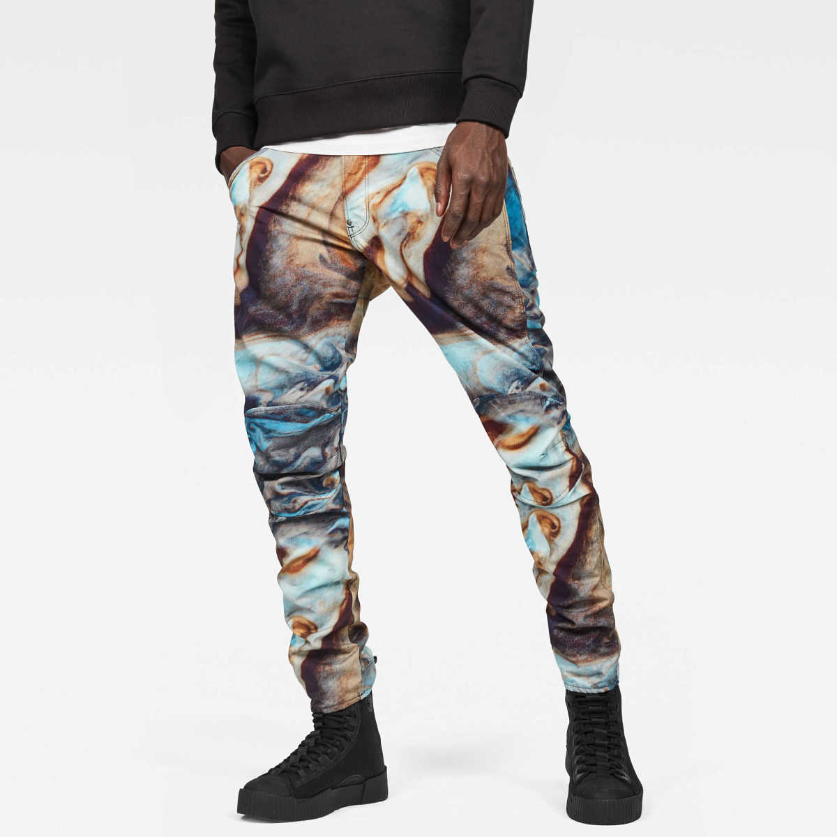 G-Star Male 5622 G-Star Elwood 3d Tapered Color Jeans Tapered Light Blue USA - GOOFASH - Mens JEANS