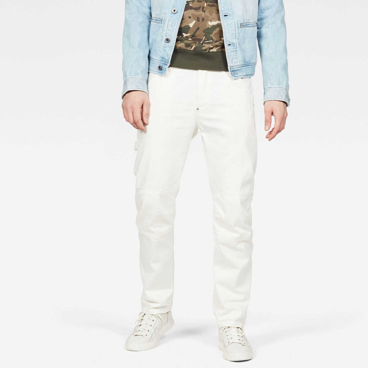 G-Star Male 5622 Workwear Zip 3d Straight Jeans Straight White USA - GOOFASH - Mens JEANS