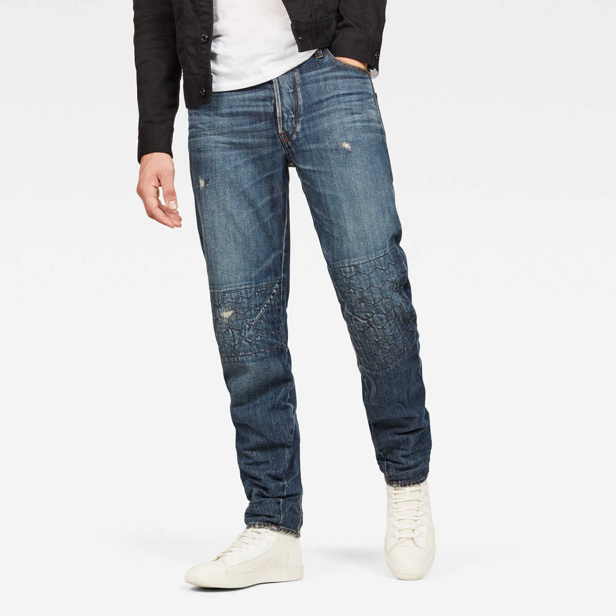 G-Star Male Arc 3d Relaxed Kikko Jeans Tapered Medium Blue USA - GOOFASH - Mens JEANS