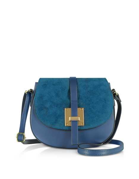 Gisèle 39 Handbags Pollia Leather and Suede Shoulder Bag Blue USA - GOOFASH - Womens BAGS