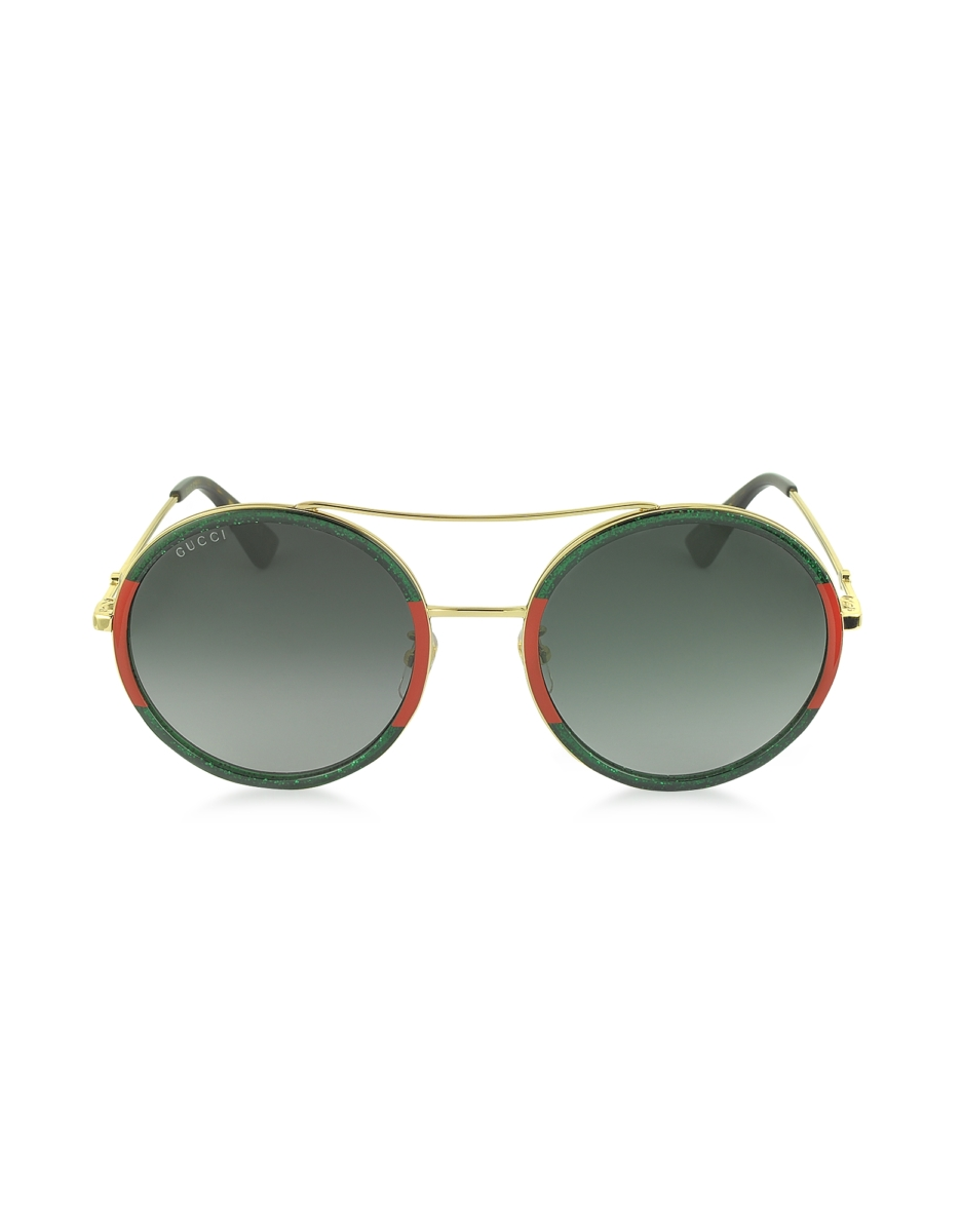 Gucci  Sunglasses GG0061S Acetate and Gold Metal Round Aviator Women's Sunglasses Red