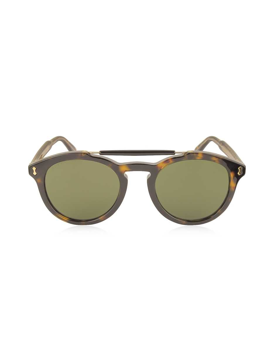 Gucci  Sunglasses GG0124S Acetate Round Aviator Men's Sunglasses Havana