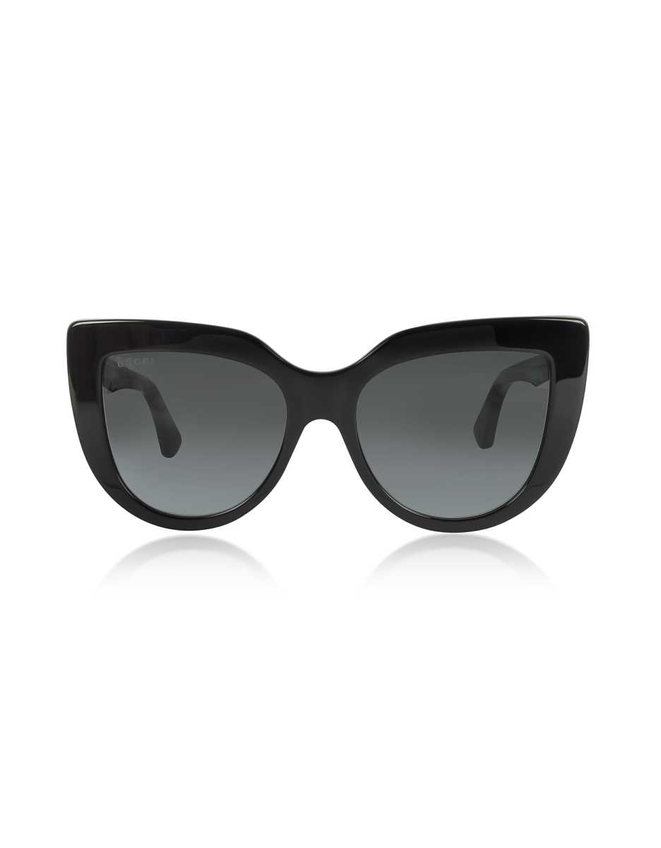 Gucci  Sunglasses GG0164S 001 Black Optyl Cat-Eye Women's Sunglasses Black USA - GOOFASH - Womens SUNGLASSES
