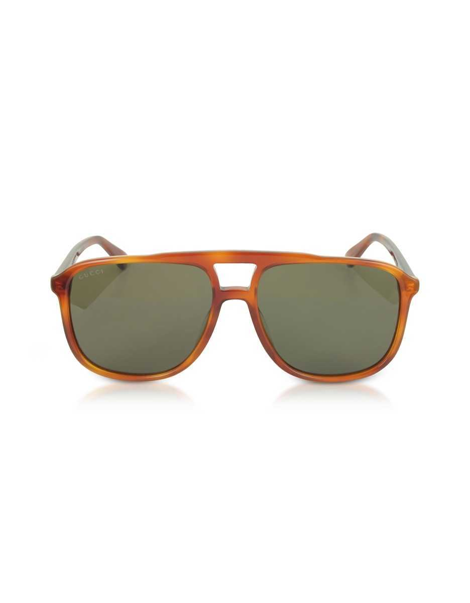 Gucci  Sunglasses GG0262S Rectangular-frame Light Havana Brown Acetate Sunglasses Havana