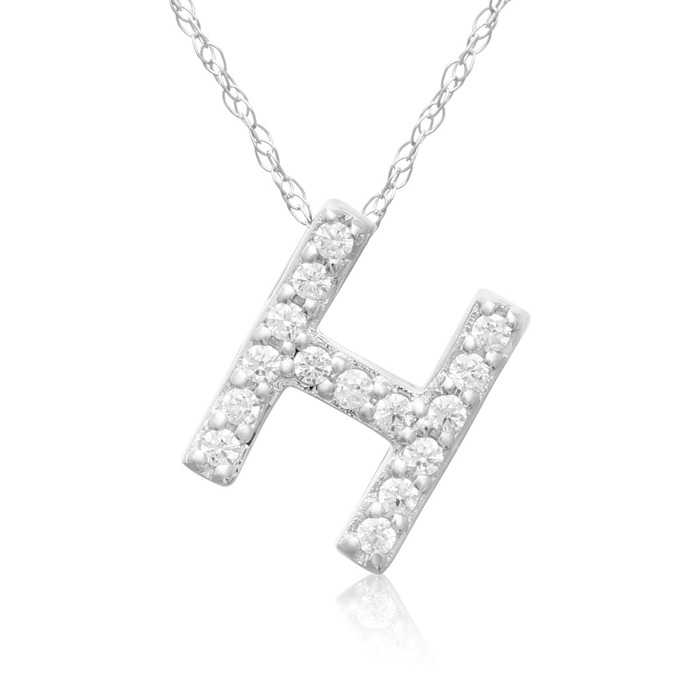 H Initial Necklace in 18K White Gold (2.6 g) w/ 15 Diamonds