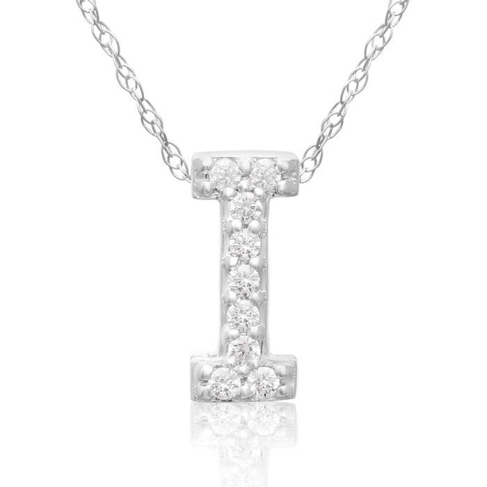 I Initial Necklace in 18K White Gold (2.6 g) w/ 9 Diamonds