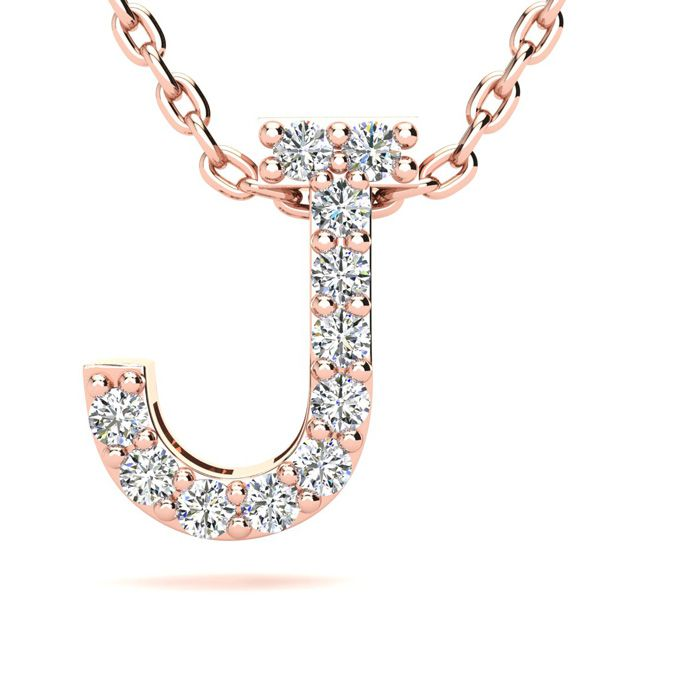 J Initial Necklace in 14K Rose Gold (2.4 g) w/ 11 Diamonds