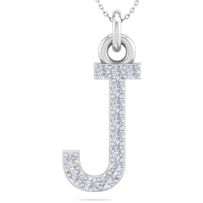 J Initial Necklace in 14K White Gold (2.50 g) w/ 13 Diamonds